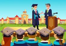 Ceremonia graduada de la universidad Profesor Congats stock de ilustración