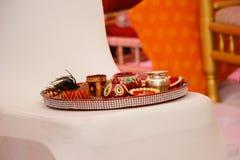 Ceremonia hind? Puja Thali foto de archivo