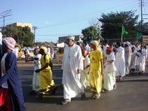 Ceremonia islámica colorida en África Imagen de archivo libre de regalías