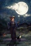 Ceremonia mágica bajo noche de las lunas Imagen de archivo