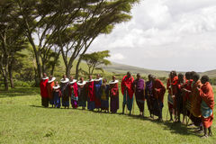 Ceremonia, Maasi wioska, Ngorongoro Conservationa teren, Tanzania Zdjęcia Royalty Free