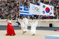Ceremonia Olimpijski płomień dla olimpiad zimowych Obraz Royalty Free