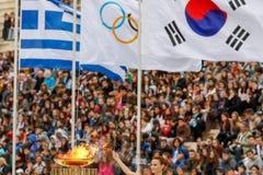 Ceremonia Olimpijski płomień dla olimpiad zimowych Obrazy Royalty Free
