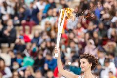 Ceremonia Olimpijski płomień dla olimpiad zimowych Zdjęcie Stock