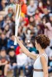 Ceremonia Olimpijski płomień dla olimpiad zimowych Fotografia Stock