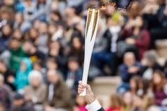 Ceremonia Olimpijski płomień dla olimpiad zimowych Obrazy Stock