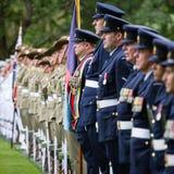 Ceremonia que da la bienvenida del funcionario del presidente de Ucrania Poroshenko i foto de archivo