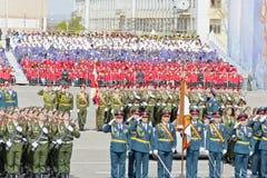 Ceremonia rusa del desfile militar de la abertura en vencedor anual Imagen de archivo libre de regalías