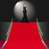 Ceremonial. Show women in black dress Stock Image