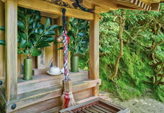 Ceremonial bell rope at the Ginkakuji Temple Kyoto Stock Image