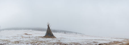 Ceremonial bonfire in snowy mongolian prairie Royalty Free Stock Photo