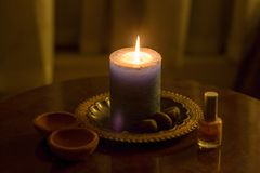 Ceremonial candlelight cleansing ritual royalty free stock image