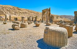Ceremonial capital of ancient Persia. Persepolis was the ceremonial capital of Persian Empire, nowadays it`s archaeological site with preserved remains of Stock Photo