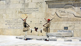 Ceremonial changing of the guard in Athens. ATHENS, GREECE - JUNE 04: 2016. Evzones (presidential guards) watches over the monument of the Unknown Soldier in Royalty Free Stock Photos
