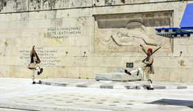 Ceremonial changing of the guard in Athens. ATHENS, GREECE - JUNE 04: 2016. Evzones (presidential guards) watches over the monument of the Unknown Soldier in Royalty Free Stock Images