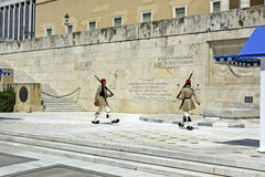 Ceremonial changing of the guard in Athens. ATHENS, GREECE - JUNE 04: 2016. Evzones (presidential guards) watches over the monument of the Unknown Soldier in Royalty Free Stock Photography