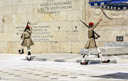 Ceremonial changing of the guard in Athens. ATHENS, GREECE - JUNE 04: 2016. Evzones (presidential guards) watches over the monument of the Unknown Soldier in Stock Photos