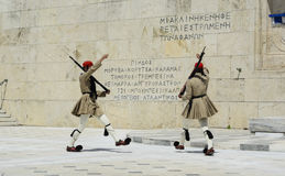 Ceremonial changing of the guard in Athens. ATHENS, GREECE - JUNE 04: 2016. Evzones (presidential guards) watches over the monument of the Unknown Soldier in Stock Images