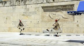 Ceremonial changing of the guard in Athens. ATHENS, GREECE - JUNE 04: 2016. Evzones (presidential guards) watches over the monument of the Unknown Soldier in Stock Image