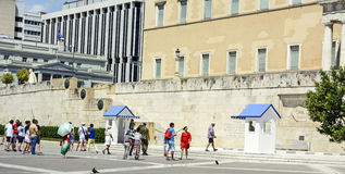 Ceremonial changing of the guard in Athens. ATHENS, Greece - June 04: 2016 Evzones (presidential guards) watches over the monument of the Unknown Soldier in Royalty Free Stock Photo