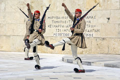 Ceremonial changing of the guard in Athens. Athens, Greece-June 04; 2016. Ceremonial changing of the guard in front of the Greek Parliament Royalty Free Stock Images