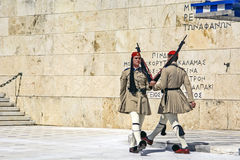Ceremonial changing of the guard in Athens. Athens, Greece - June 04: 2016. Ceremonial changing of the guard in front of the Greek Parliament Stock Image