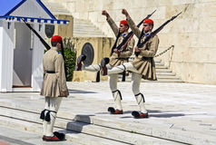 Ceremonial changing of the guard in Athens. Athens, Greece - June 04: 2016. Ceremonial changing of the guard in front of the Greek Parliament Royalty Free Stock Photos