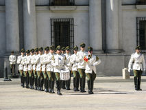 Ceremonial changing of the guard at Palacio de la Moneda Royalty Free Stock Photos