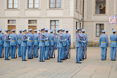 Ceremonial changing of the Guards at Prague Castle royalty free stock image