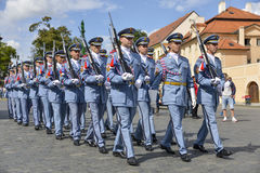 Ceremonial changing of the Guards at Prague Castle Stock Photos