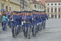 Ceremonial changing of the Guards at Prague Castle Royalty Free Stock Photo