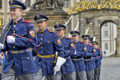 Ceremonial changing of the Guards at Prague Castle Royalty Free Stock Photography