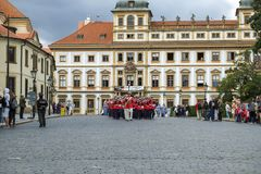Ceremonial changing of the Guards at Prague Castle Royalty Free Stock Images