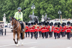 Ceremonial changing of the London guards in front of the Bucking Palace, London, United Kingdom Stock Images
