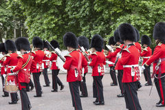 Ceremonial changing of the London guards in front of the  Buckingham Palace, United Kingdom Stock Photo