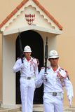Ceremonial couple of guards near Prince`s Palace of Monaco Royalty Free Stock Photo