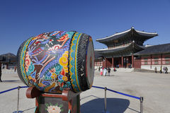 Ceremonial Drum at Gyeongbokgung Palace, Grand Palce Seoul, South Korea, Asia - shot November 2013 Stock Photo