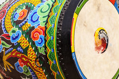 Ceremonial Drum Highlights. A detailed view of the ornamental paint patterns on a ceremonial drum seen in the Gyeongbokgung Palace complex. The drumhead skin royalty free stock photo