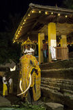 A ceremonial elephant is dressed in costume prior to being lead into the Esala Perahera in Kandy in Sri Lanka. A ceremonial elephant is dressed in costume prior Stock Images