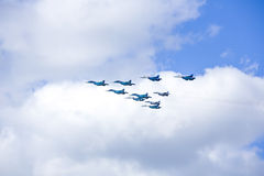 Ceremonial flight aviation in sky over Moscow Royalty Free Stock Photo
