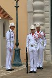 Ceremonial guard changing near Prince`s Palace of Monaco Royalty Free Stock Photo