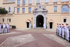 Ceremonial guard changing, Prince`s Palace, Monaco Stock Images