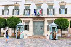 Ceremonial guard at the Presidential Palace. Royalty Free Stock Photo