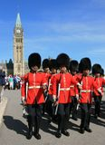 Ceremonial Guards Marching from Peace Tower Royalty Free Stock Image