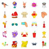 Ceremonial icons set, cartoon style. Ceremonial icons set. Cartoon set of 25 ceremonial vector icons for web isolated on white background Stock Photos