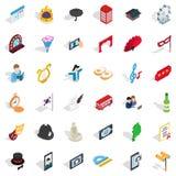 Ceremonial icons set, isometric style. Ceremonial icons set. Isometric set of 36 ceremonial vector icons for web isolated on white background Royalty Free Stock Photo
