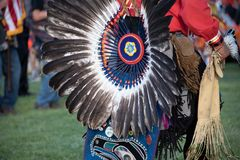 Ceremonial Indian headress. Close up of ceremonial American Indian headdress and costumes at Pow Wow outdoors in Portland, Oregon stock photo