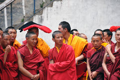 Ceremonial Lamas in the Buddhist rituals. At Riku temple. Kangding county., sichuan stock image