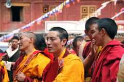 Ceremonial Lamas in the Buddhist rituals. At Riku temple. Kangding county., sichuan royalty free stock photography