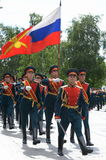 Ceremonial march of the guard of honor after laying flowers at the Tomb of the Unknown Soldier in Moscow. Stock Image